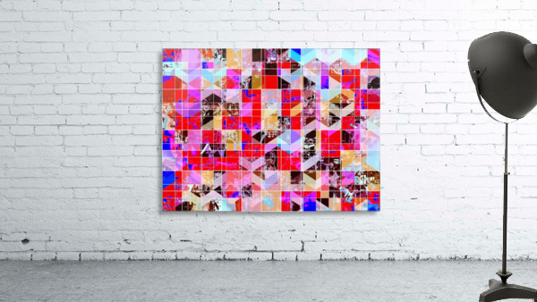 geometric square and triangle pattern abstract in red pink blue