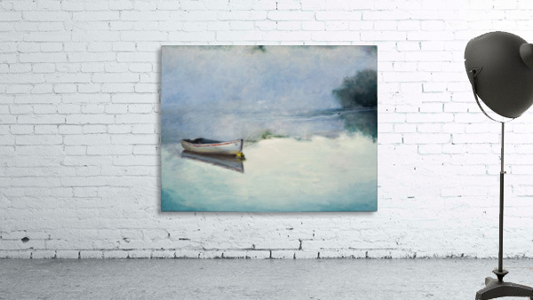 Fog on the lake   Brume sur le lac oil painting waterscape 1