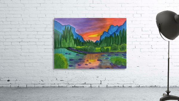 Mountain river in the background of the forest and the blue mountains at sunset