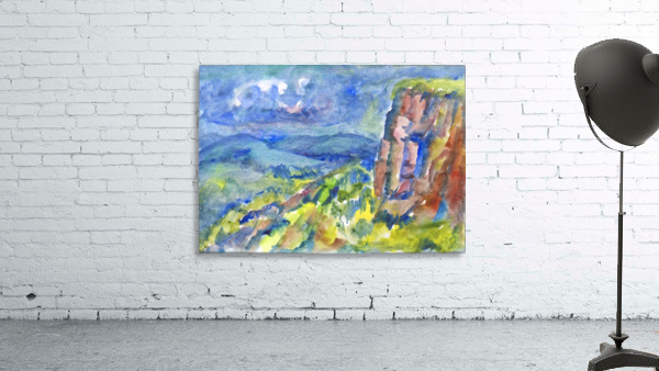 Summer landscape with cliff