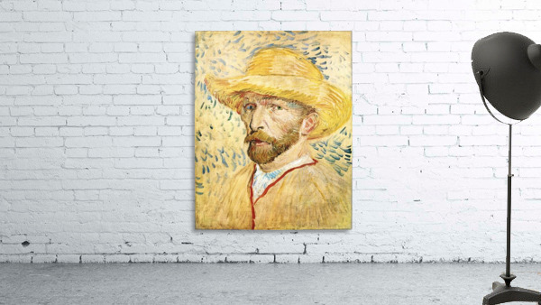 Self-Portait with straw hat by Van Gogh