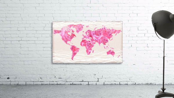 Pink Rose Petals Watercolor Map Of The World