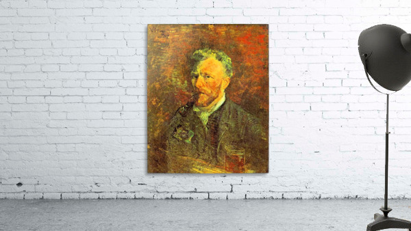 Self-portrait, with pipe, at a table by Van Gogh