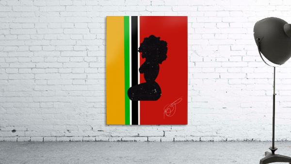 Afrocentric Woman Silhouette- African Flag