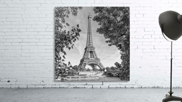 PARIS Eiffel Tower & River Seine   Monochrome
