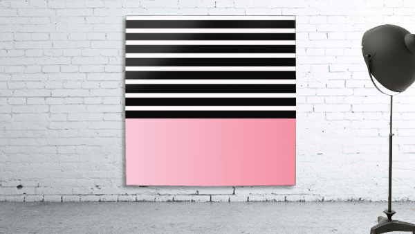 Black & White Stripes with Pink Gradient Patch