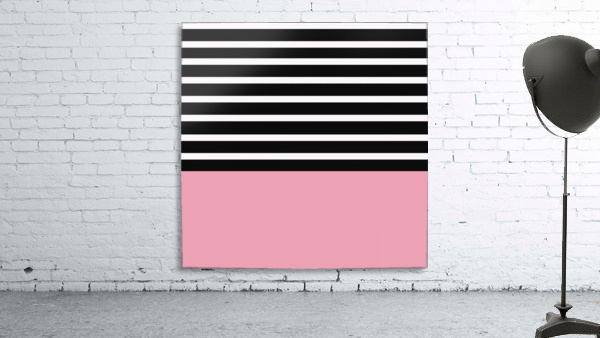 Black & White Stripes with Pacific Rose Patch