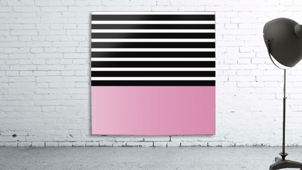 Black & White Stripes with Baby Pink Patch