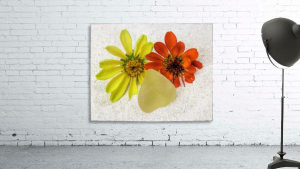 Pale yellow sea glass and zinnias