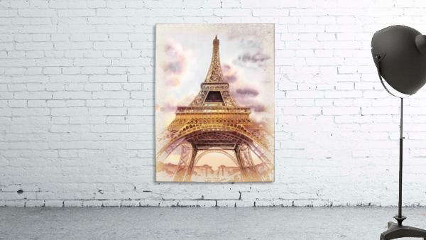 Vintage Paris Eiffel Tower Watercolor Painting