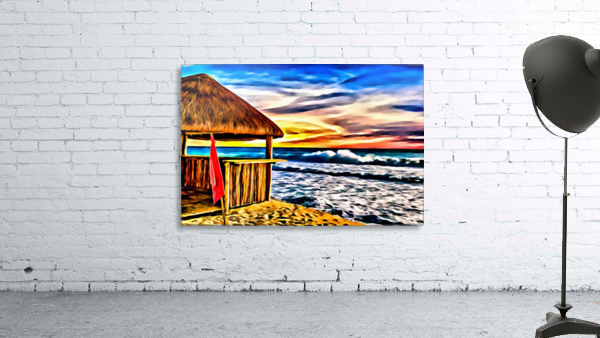 Beach Hut and Stormy Sea in Oil