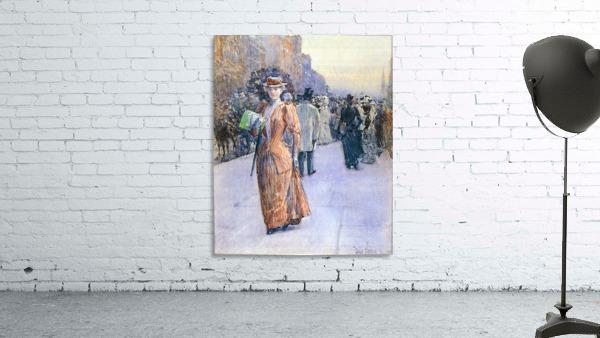 New York street scene by Hassam