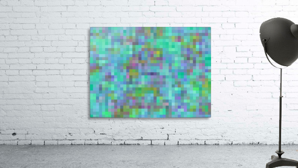 geometric square pixel pattern abstract in green blue pink
