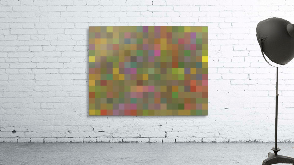 geometric square pixel pattern abstract in green pink yellow