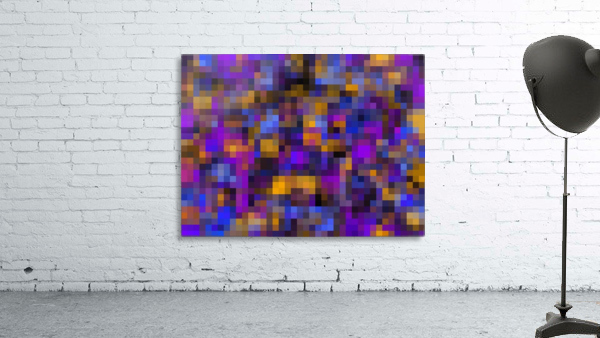 geometric square pixel pattern abstract background in blue purple yellow