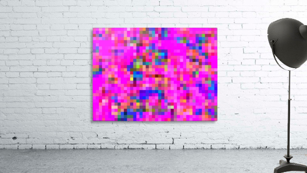 geometric square pixel pattern abstract background in pink blue yellow