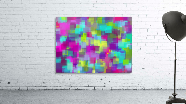 geometric square pattern abstract background in pink yellow blue