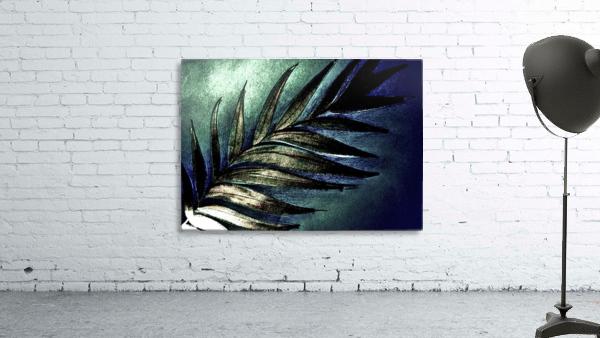 GREEN METALLIC PALM TREE LEAF TROPICAL DESIGN