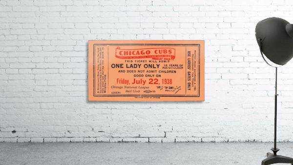1938 Chicago Cubs World Series Ticket