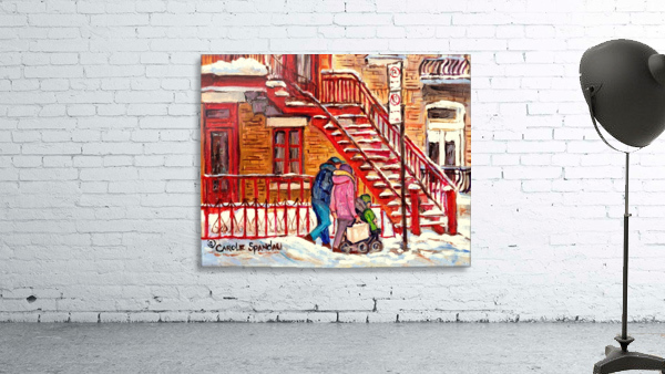 MONTREAL PAINTING OF WINTER SCENE COUPLE NEAR SPIRAL STAIRCASE