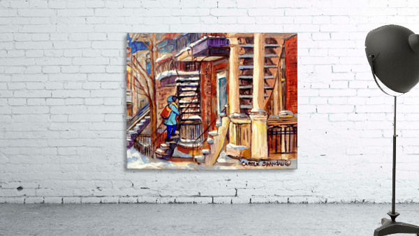 MONTREAL PAINTING PLATEAU MONT ROYAL WINTER SCENE GIRL WALKING OUTDOOR STAIRS