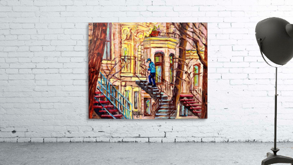MAILMAN WALKING UP SPIRAL STAIRCASE PLATEAU MONT ROYAL MONTREAL STREET SCENE