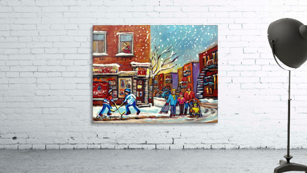 FAMILY AT DEPANNEUR SNOWY MONTREAL WINTER SCENE