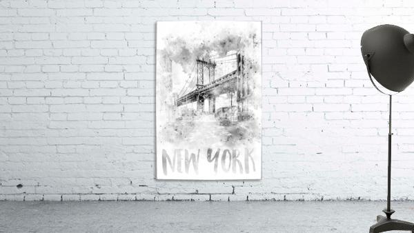 Monochrome Art NYC Manhattan Bridge | watercolor