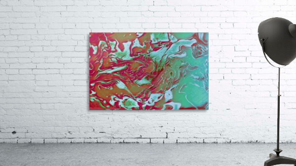 Fire and Ice - turquoise red gradient abstract swirl wall art