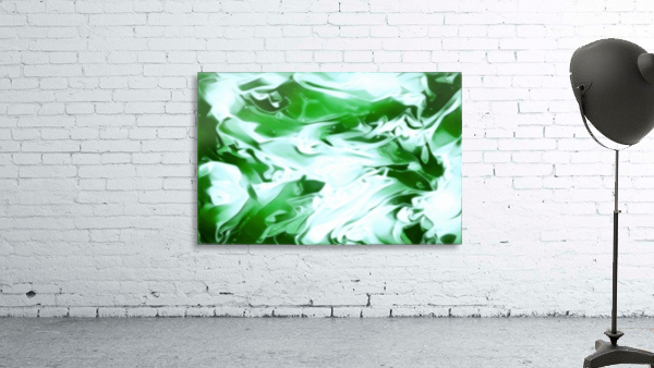 Clover - green white abstract swirl wall art