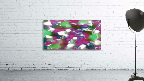 Plums & Lime with Mint Leaves - purple green white swirls and spots large abstract wall art