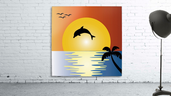 ocean sunset dolphin palm tree