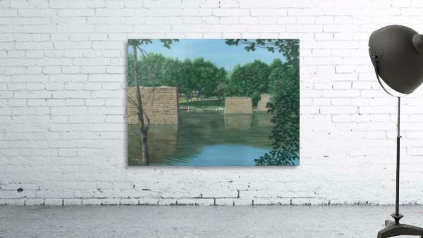 Stone Piers Housatonic River - Newtown Scenes 18 X 24