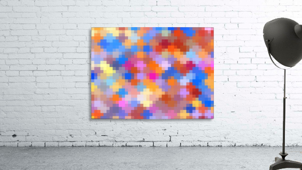 geometric square pixel pattern abstract in pink blue orange