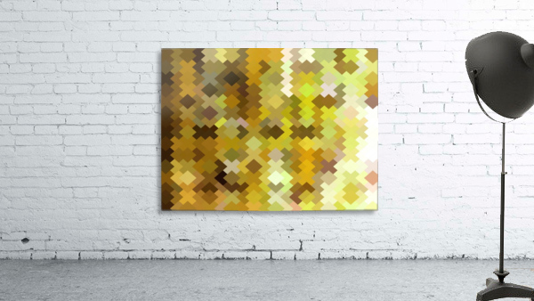geometric square pixel pattern abstract in yellow and brown