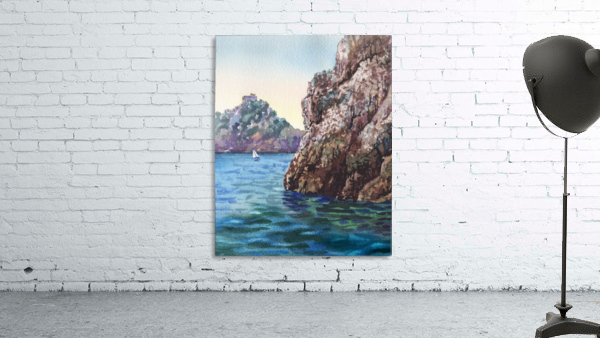 Seascape Harbor Rocky Shore Watercolor Painting