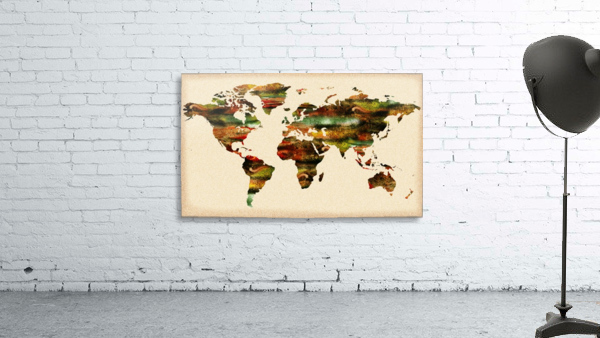 Watercolor World Map Vintage Brown