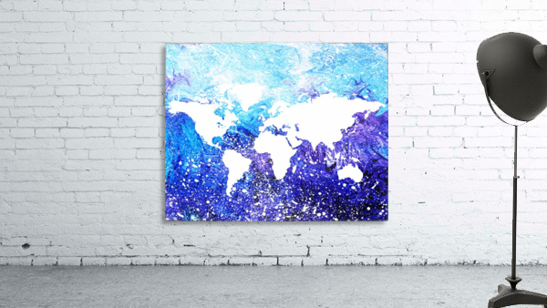 Watercolor Silhouette World Map Global Cooling