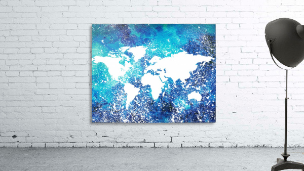 White And Teal Watercolor Silhouette World Map