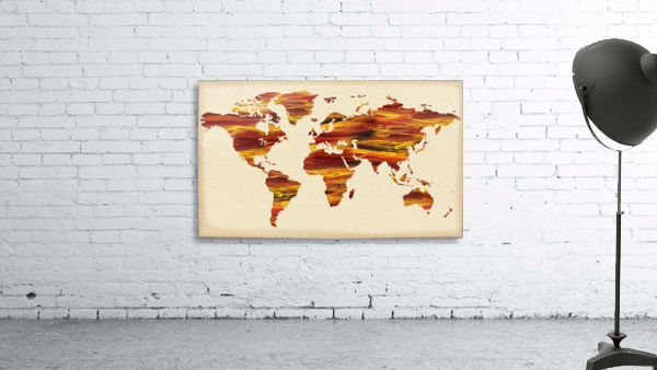Watercolor Silhouette World Map Terra Lines