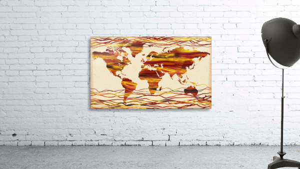 Watercolor Silhouette World Map Brown Beige Waves
