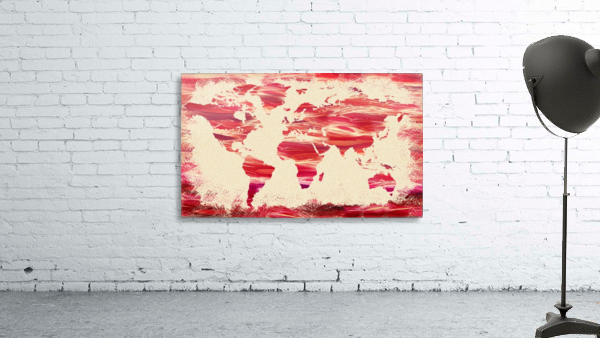 Watercolor Silhouette World Map Pink Terra