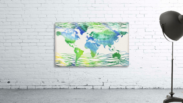 Watercolor Silhouette World Map Blue Green Wave