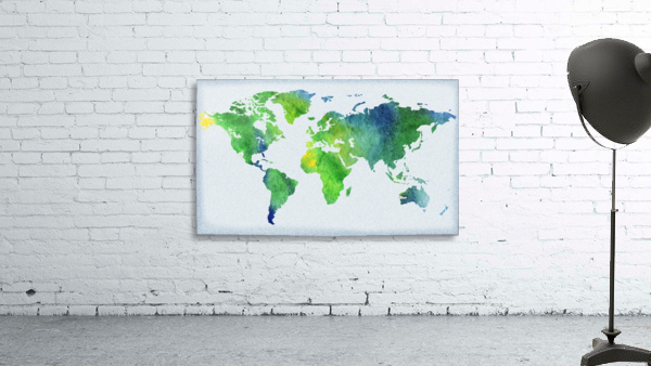 Watercolor Silhouette World Map Peaceful Green