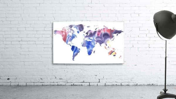 Watercolor Silhouette World Map Purple Blue