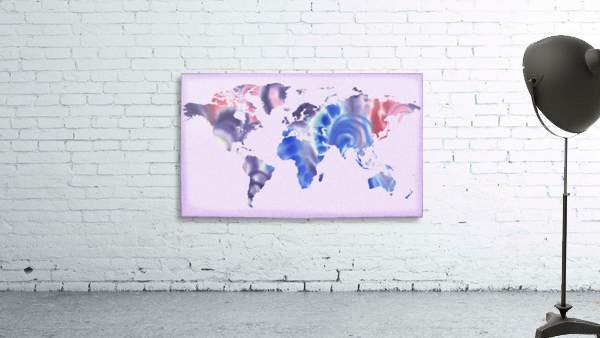 Watercolor Silhouette World Map Lilac Blue And Purple