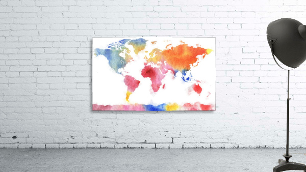 Watercolor Silhouette World Map Rainbow Sea