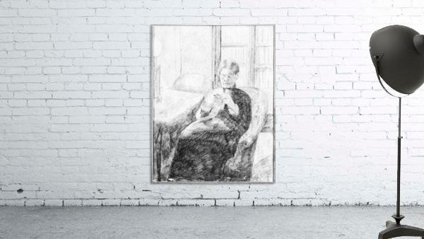 An old woman knitting by Cassatt