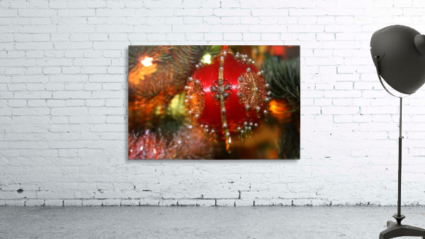 Festive Christmas holiday background with Santa Claus presents and tree.