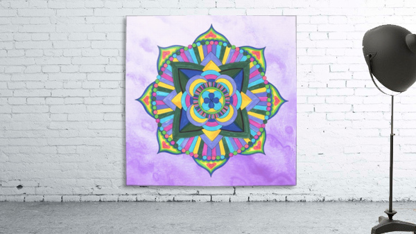 Hand Painted Mandala Watercolor Meditation on Purple